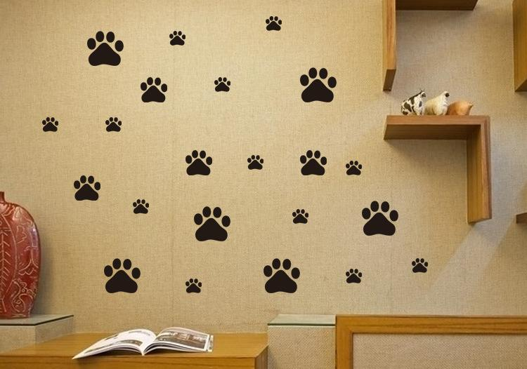 Cute Animal Paw Wall Stickers PVC Removable Self-adhesive Animal ...