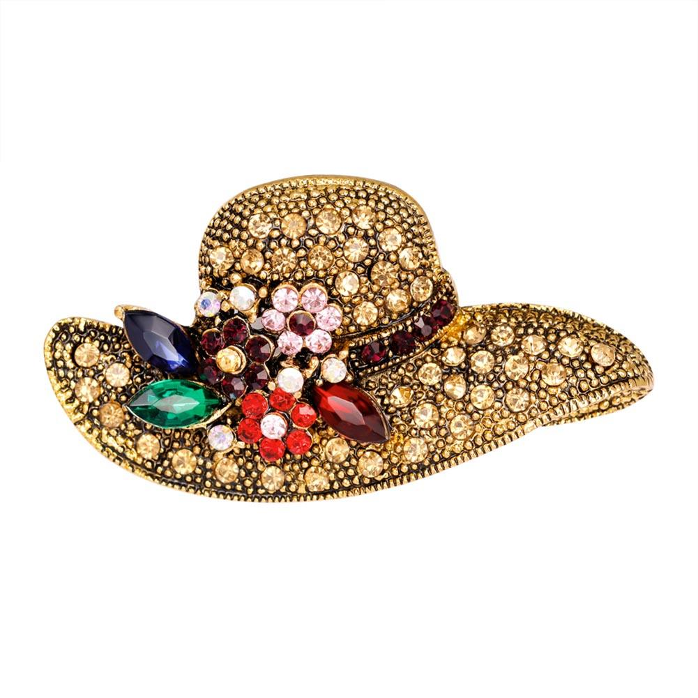 Ustar Fashion Hat Brooches For Women Pins Gold Color Blue: 2019 2018 Hat Shape Rhinestone Brooch Vintage Flower Pins