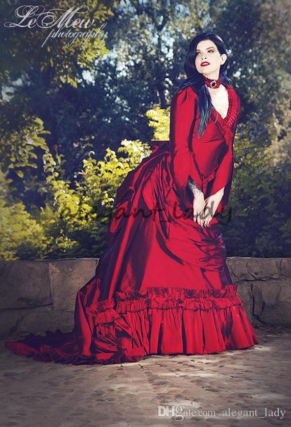 Mina Dracula animation victorienne du bal occasion robe 2018 vintage Halloween gothique volants train plus la taille taffetas soirée robe formelle