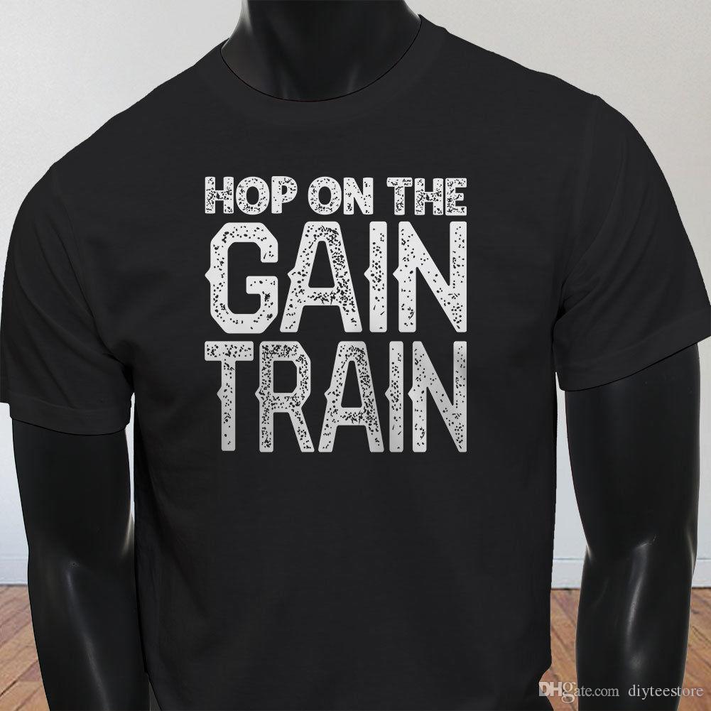 24326dd3 Vintage Gain Train Gym Humor Workout Lift Gains Mens Black T-Shirt Tees  Shirt Men Male Amazing White Short Sleeve Custom XXXL Men's Tee Shir