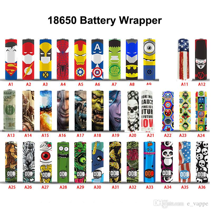 65 designs for 18650/20700/21700 battery Wraps PVC Sticker Shrinkable Wrap Cover Sleeve Heat Shrink Re-wrapping for Batteries Wrapper