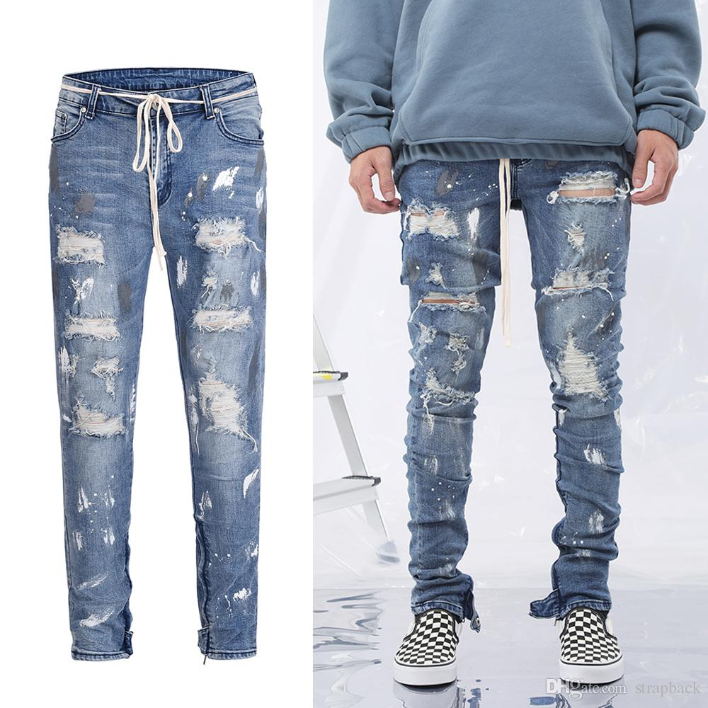 a113fad5c5f168 2019 Strapback Mens New Blue Ripped Skinny Jeans Slim Fit Damage Wash  Elactic Hole Denim Jeans High Street FOG Justin Bieber Style Vintage Jeans  From ...