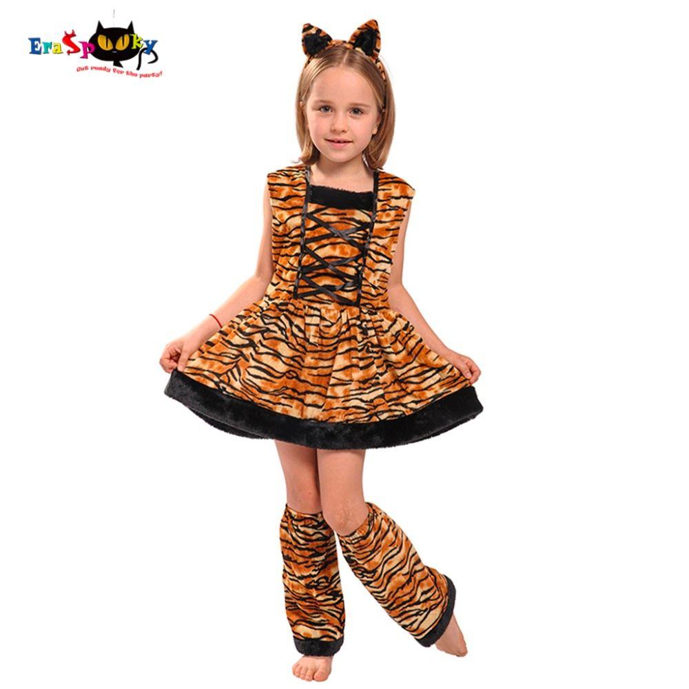 241b7b97e Eraspooky trajes de carnaval para niños banda principal linda niños Cosplay  encantador disfraz de Halloween traje de tigre vestido para niñas