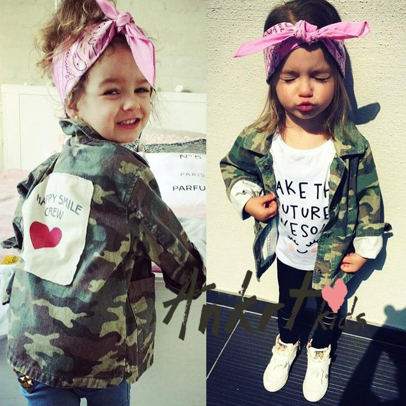 New Autumn and Winter Girls Jacket Children Camouflage Heart Printed Coat Cute Fashion Baby Kids Clothes