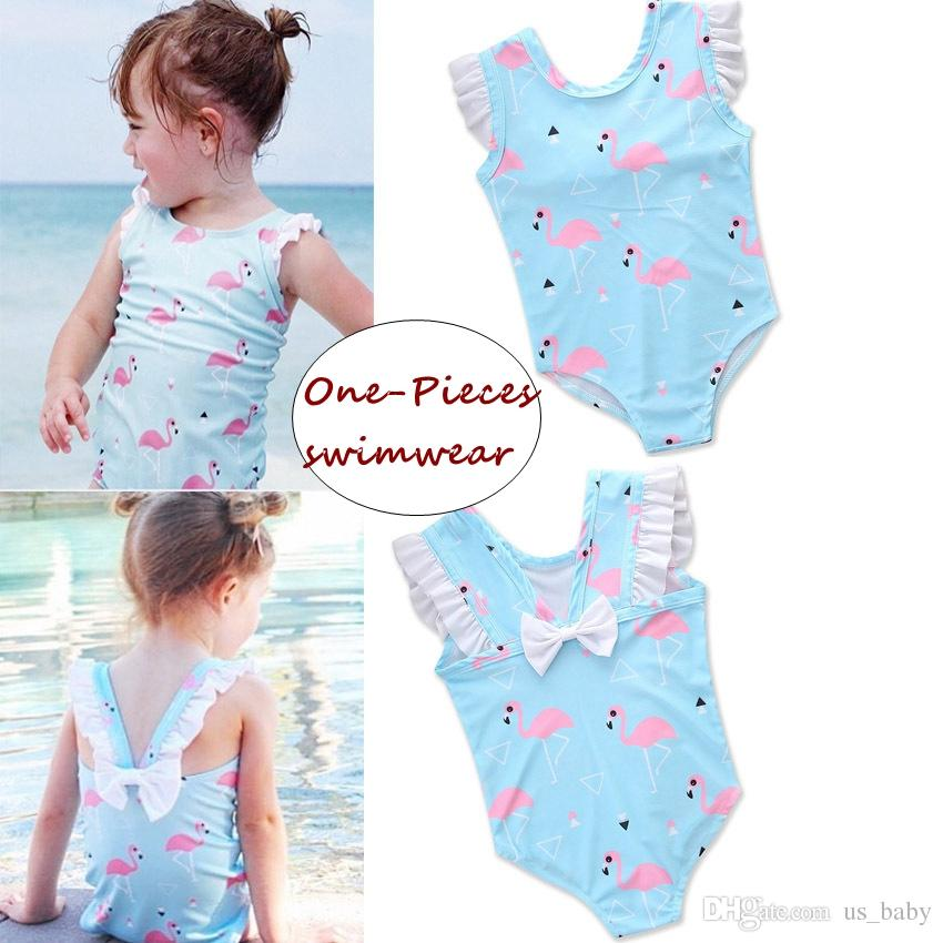 5b886e565c Girl Summer Flamingo Swimwear Kids Animal Print Bikini Romper with Bow  Children One-Pieces Swimsuit for 2-6T Ins Girls Rompers Jumpsuits Online  with ...