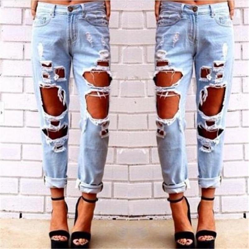 c57108309c Fashion Womens Destroyed Jeans Ripped Denim Pants Broken Boyfriend Jeans  Long Pencil Trousers New 2018 Summer Big Hole Trousers S18101604 Online  with ...