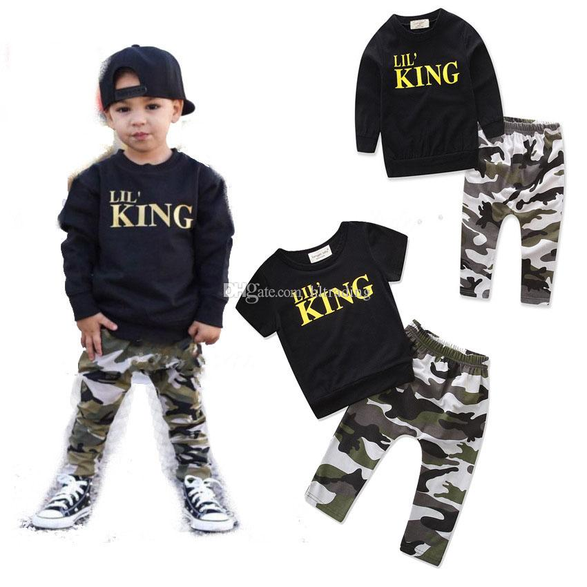 Baby Camouflage outfits boys letter top+Camouflage pants 2pcs/set cotton kids Clothing Sets C3493