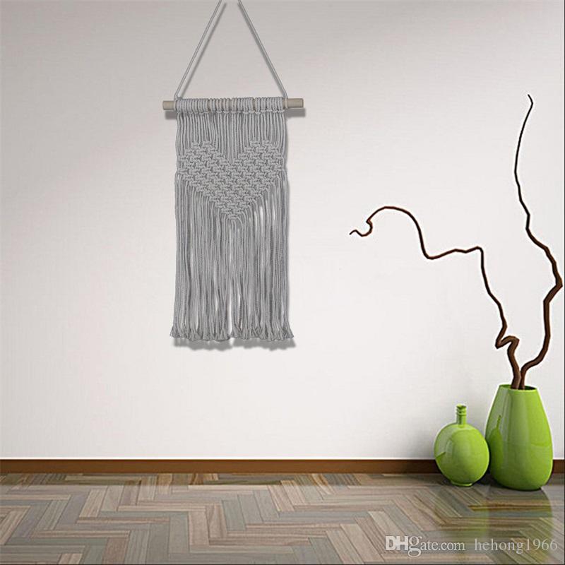 Knitting Heart Curtain Woven Wall Hanging Bohemia Handmade Macrame ...