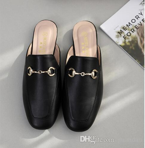 new 2018 summer spring square heels chains leather mules fashion slippers women shoes ladies slides dh2h37