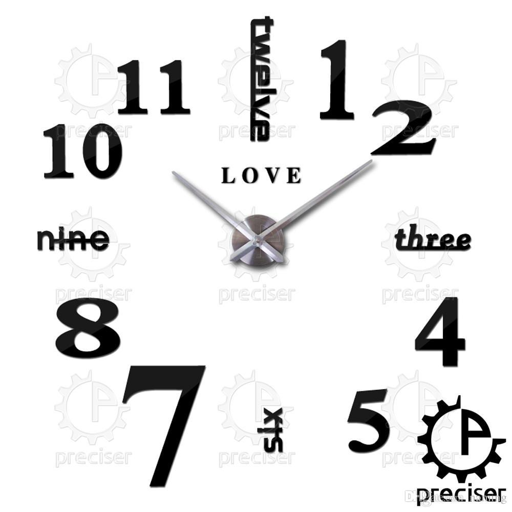 Wholesale Love English Letters Arabic Digital Wall Clock Home Decor