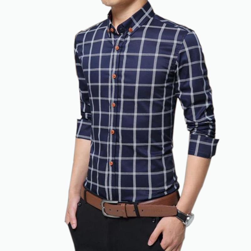 2019 new checkered shirt men casual fashion long sleeves slim shirt