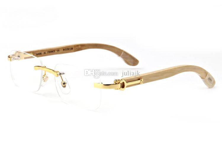 Nuevo estilo de lujo Madera Blanco Cuerno de búfalo Gafas Hombres Gafas de sol de época Decoración de madera Bamboo Legs Marcos vienen con caja roja