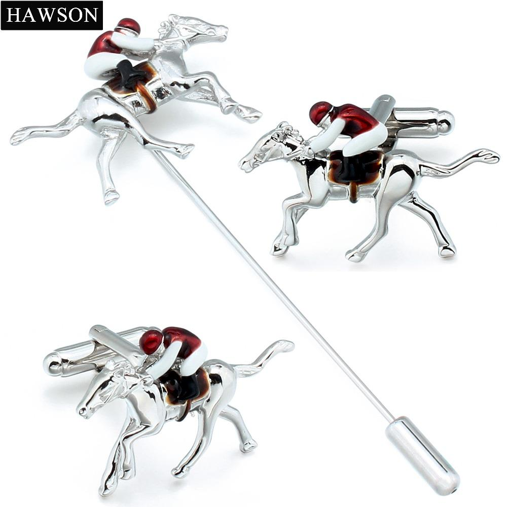 2019 Novelty Horseback Riding Cufflinks Sporty Horse Race Lapel Pin Red Enamel Jewelry Birthday Gift For