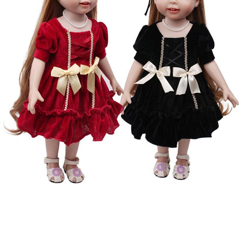 720d3ed92 Compre Vestido De Princesa Hecho A Mano De Moda Muñeca Ropa Para 18  Pulgadas Muñecas American Girl Doll Ropa Y Accesorios De Color Negro Rojo A   35.1 Del ...