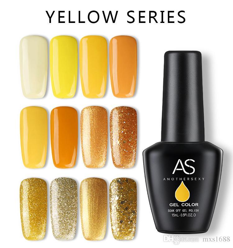 As Yellow Color Soak Off Nail Gel Polish Nail Manicure Glitter Foil ...