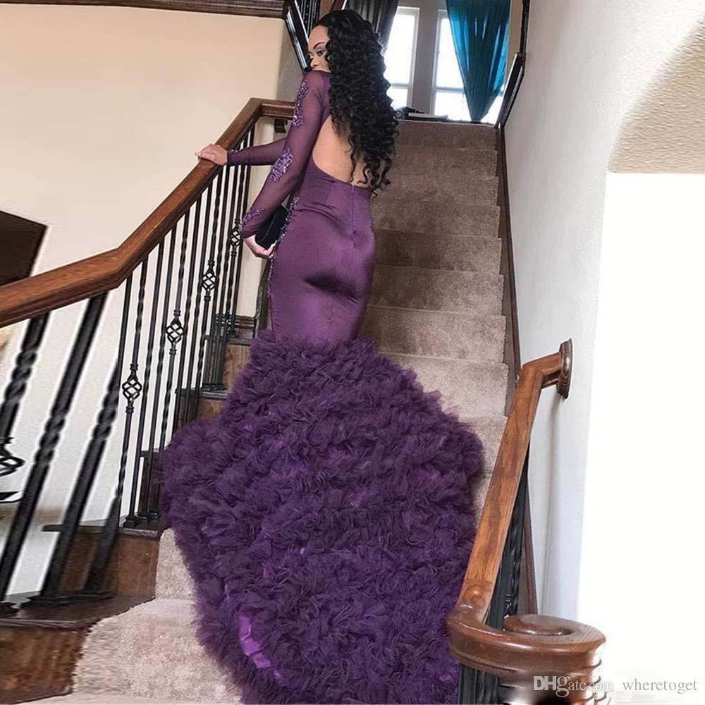 2019 African Purple mermaid Prom Dresses Long Lace Applique Long Sleeves Backless Formal Evening Gown ruffles Tiered Tulle skirt Party Gowns