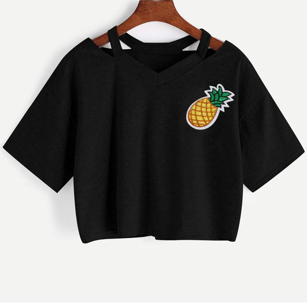 53309b9d Summer T Shirt Women Casual Pineapple Printed Short Sleeve Crop Top Super  Quality Tshirts Cotton Women T Shirts Funny Great T Shirts From Liasheng06,  ...