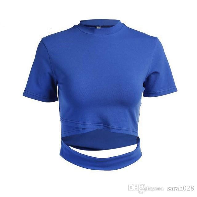 90a4f0025ec2 6 Colors Sexy Cropped Hollow Out Slim t shirt Women Blue Knitted O-neck  Women's t-shirt Spring Summer Elegant Cute Crop Top