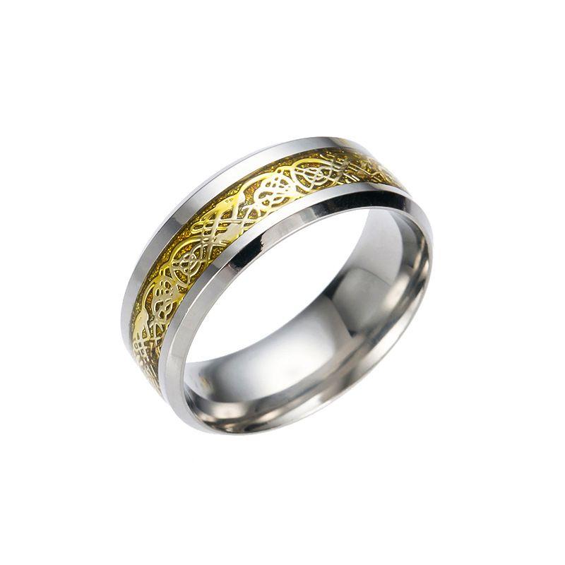 Anel de Aço Inoxidável bonito Mens Jóias Vintage Dragão De Ouro 316L para Homens Senhor Casamento Masculino Anel de Banda De Luxo para Os Homens Amantes Anéis