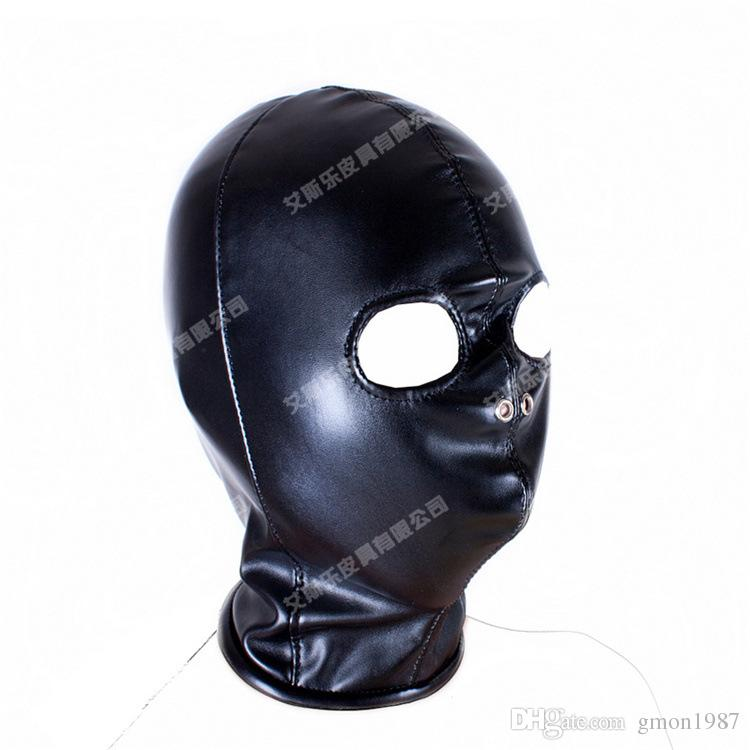 Top Grade Fetish Mouth Mask erotic Sex Toy For Female Woman Couple Restraint Sexy Bondage Adult Game PU Leather Hood Mask