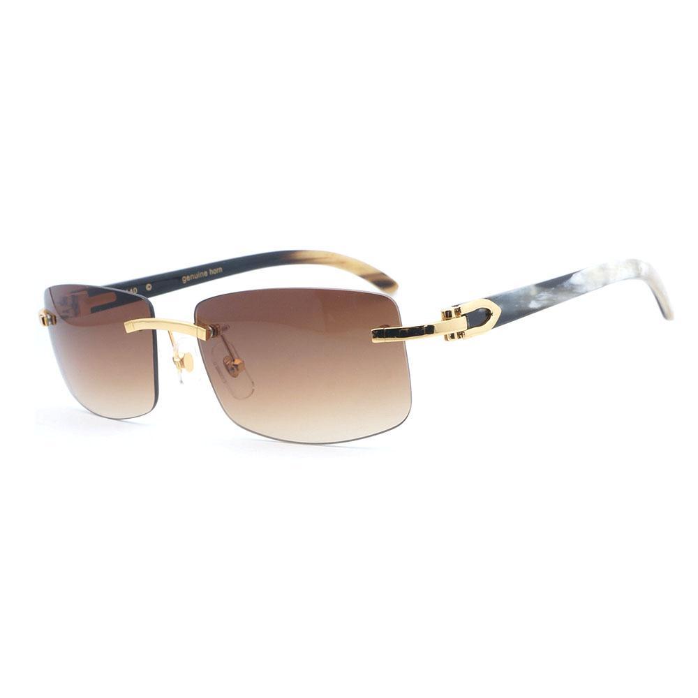 41281cc7b59a2 Compre Retro Óculos De Sol Dos Homens Branco Mix Preto Búfalo Chifre Óculos  Homens Tons Para Condução Viajar De Luxo Sem Aro Rosa Óculos De Sol De  Duweiha