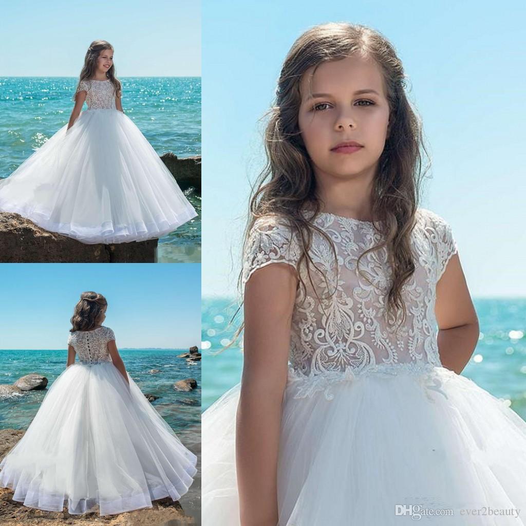 Lovely White Short Sleeves Flower Girl Dresses Lace Applique Floor ...