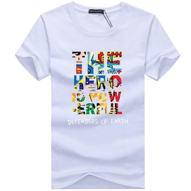 Mode Männer T-Shirt Casual Der Held Ist Macht Lustige Baumwolle Brief Sieben Kurzarm T-Shirts Mann T-Shirt