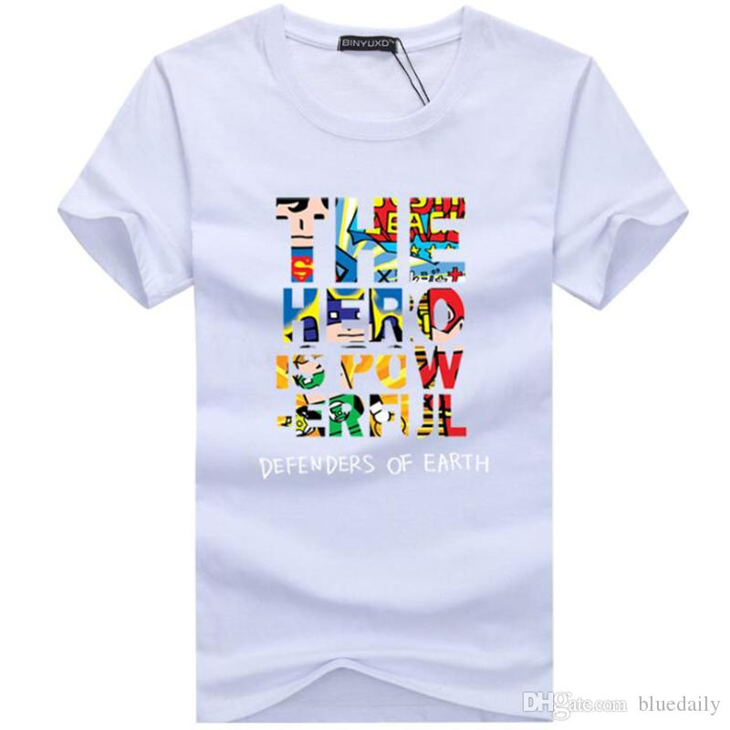 Мода мужчины футболка повседневная The Hero Is Power Funny хлопок письмо семь с коротким рукавом футболки человек футболка
