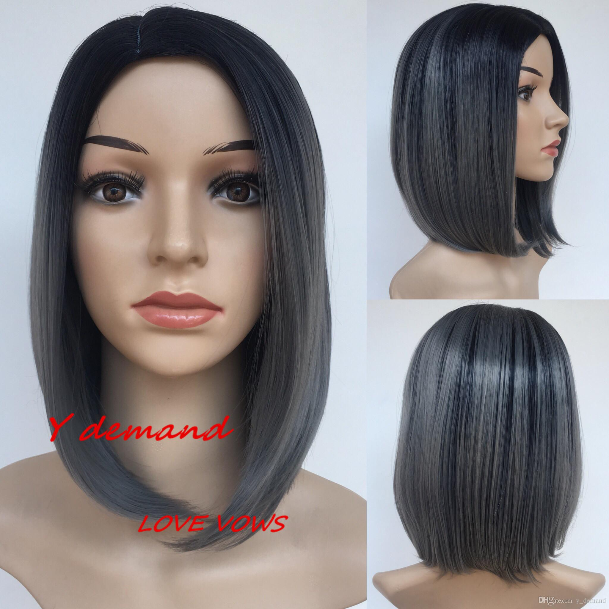 9dae6bbc7d5 12inch Fashion New Straight Short Ombre Grey Wig Simulation Brazilian Human  Hair Full Wig For Black Women Y demand