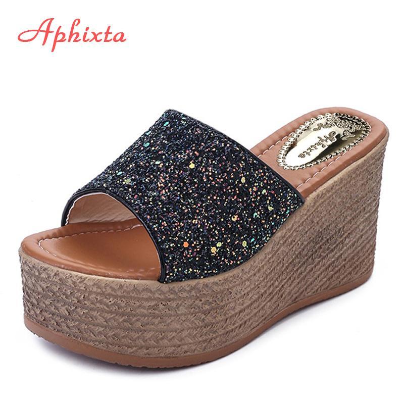 c051ead963f Aphixta Summer Wedge Slippers Platform High Heels Women Slipper Ladies  Outside Shoes Basic Clog Wedge Slipper Flip Flop Sandals Men Boots Slipper  Boots From ...