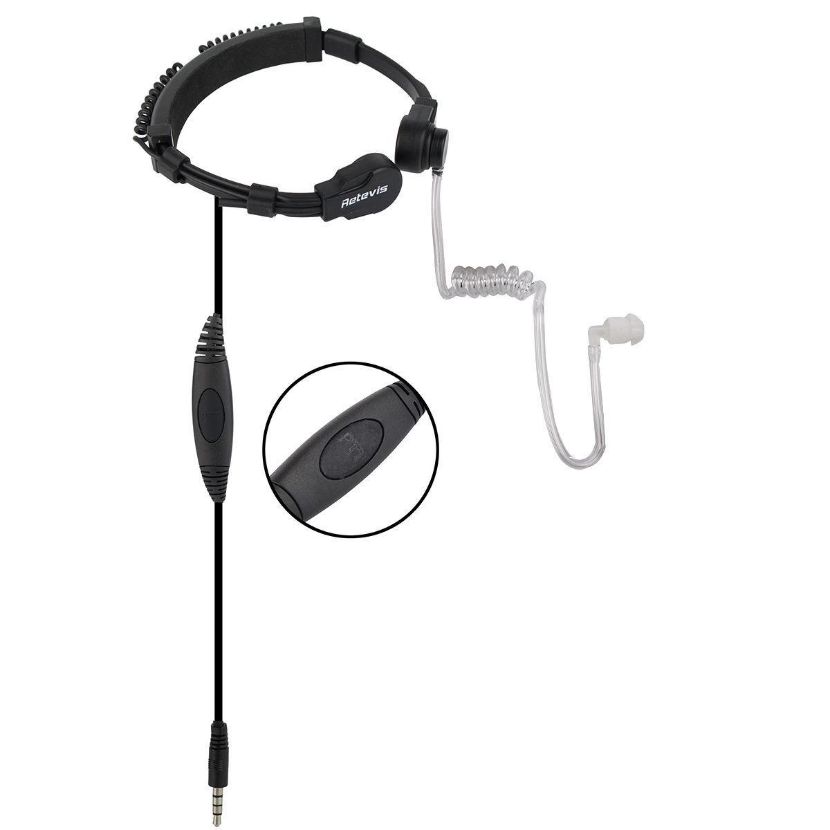 2X Retevis R-151 1Pin PTT Throat Mic Écouteur Écouteur Pour Radio Téléphone Mobile