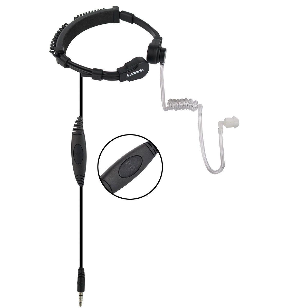 2X Retevis R-151 1Pin PTT Throat Mic Earpiece Earphone For Mobile Phone & Radio
