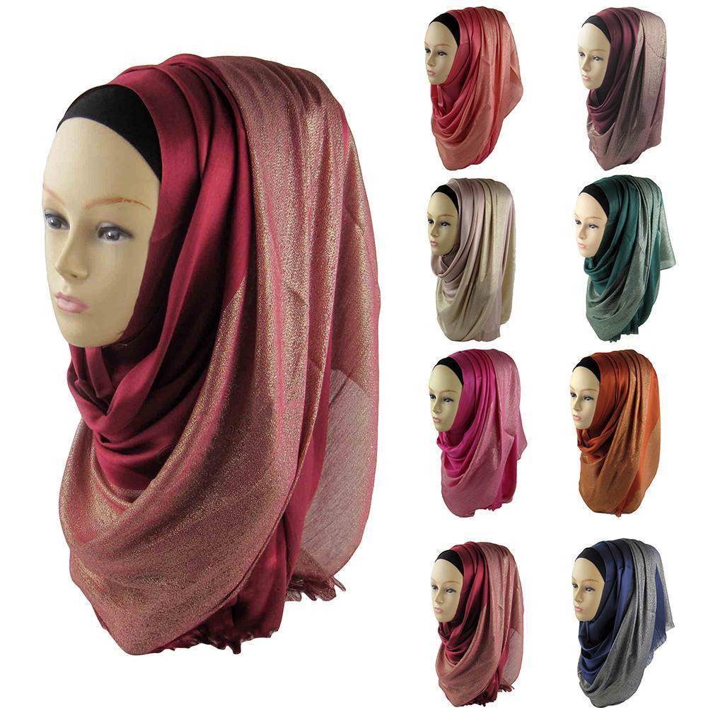 cd6309daff1 Acheter Femmes Plaine En Mousseline De Soie Musulmane Hijab Écharpe Wrap  Couleur Unie Châles Bandeau Musulman Hijabs Écharpes Islamique Châle Cap  Tête ...