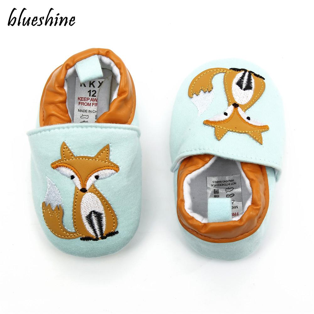 NEW Cotton Cloth First Walker Cartoon Fox Baby Boy Girls Shoes Toddler Moccasins 0-6 7-12 13-18M Non-slip Soft Bottom Shoes
