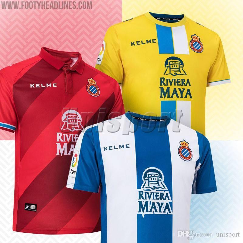 2018 19 RCD Espanyol Soccer Jerseys Futbol Camisetas Real Club Deportivo Español  Camiseta De Fútbol Camisa Maillot Por Unisport abda5a8a1fc92