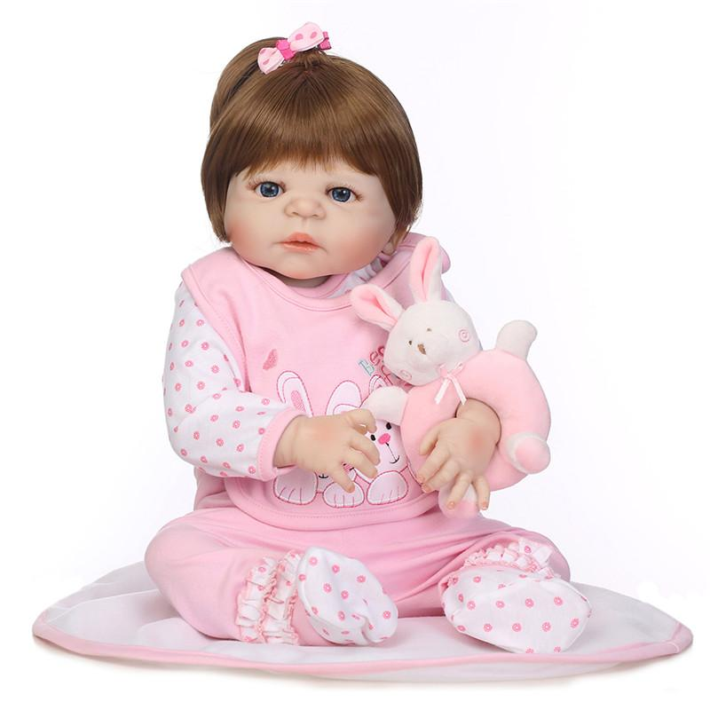 e91d29c3a5ee 57cm 22 Inches Soft Silicone Reborn Baby Doll Girl Toys Lifelike Full Fashion  Dolls Bebe Reborn For Kids Amican Girl Doll Doll Clothes 14 Inch Baby Dolls  ...