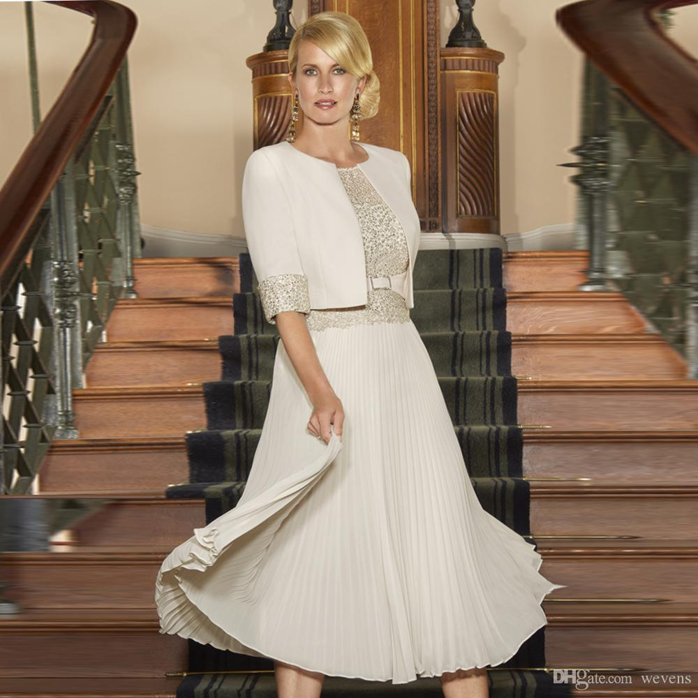 9be4f91c7b5 Ivory Plus Size Chiffon Mother Of The Bride Dresses With Jacket A Line Knee Length  Wedding Guest Dress Women S Casual Skirts Grandmother Of The Groom ...