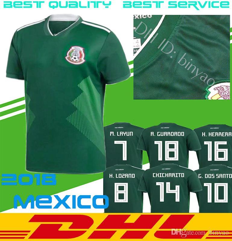 38c03b1ac DHL Free SHIPPING MEXICO SOCCER JERSEYS 2018 world cup Thai home green  CHICHARITO CHUCKY LOZANO HERRERA Mexico football shirt Uniform Sales