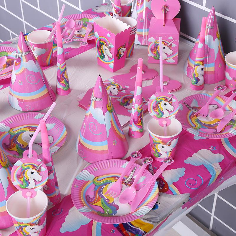 2018 Unicorn Theme Birthday Party Set Plates Banner Glasses Kids Favors Cups Dishes 7a0809 From Herbertw 2364