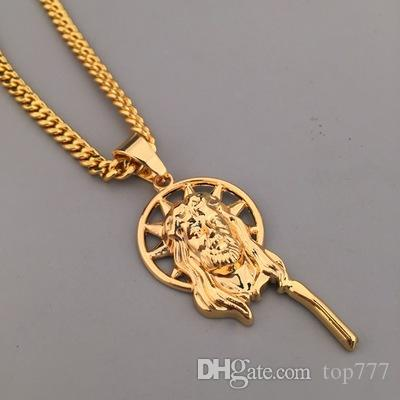 Wholesale Hip Hop Jewelry Dancer Rock Plating 18K Real Gold Jesus Piece  Necklace Hippie Hipster Jewellery Women Male Promotions Heart Pendant  Statement ... ddb050e55