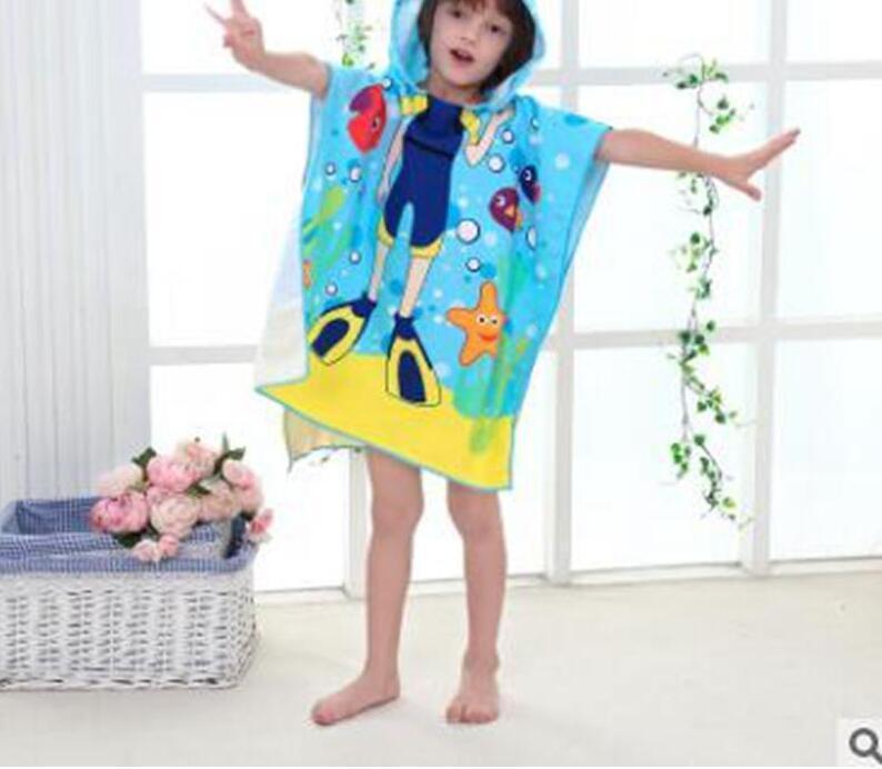 Bebê toalha de banho micro material de fibra garoto dos desenhos animados impressão com capuz manto banho de natação toalhas com capuz manto toalha de praia