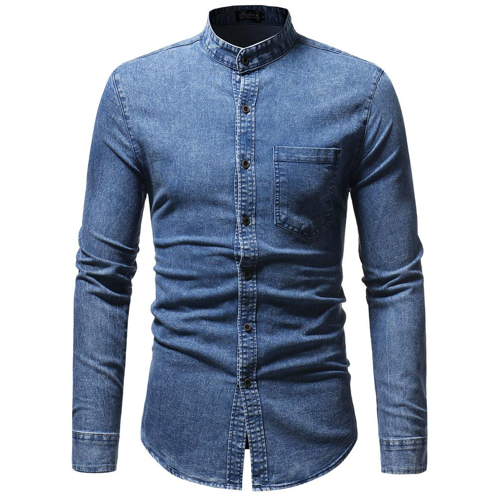2019 Jcchenfs 2018 Casual Mens Denim Shirt Autumn Long Sleeve Stand
