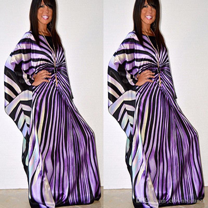 Robe africaine pour les femmes mode de rayure de zèbre imprimer robe taille maxi, plus Robe longue Robe vetsido africaine
