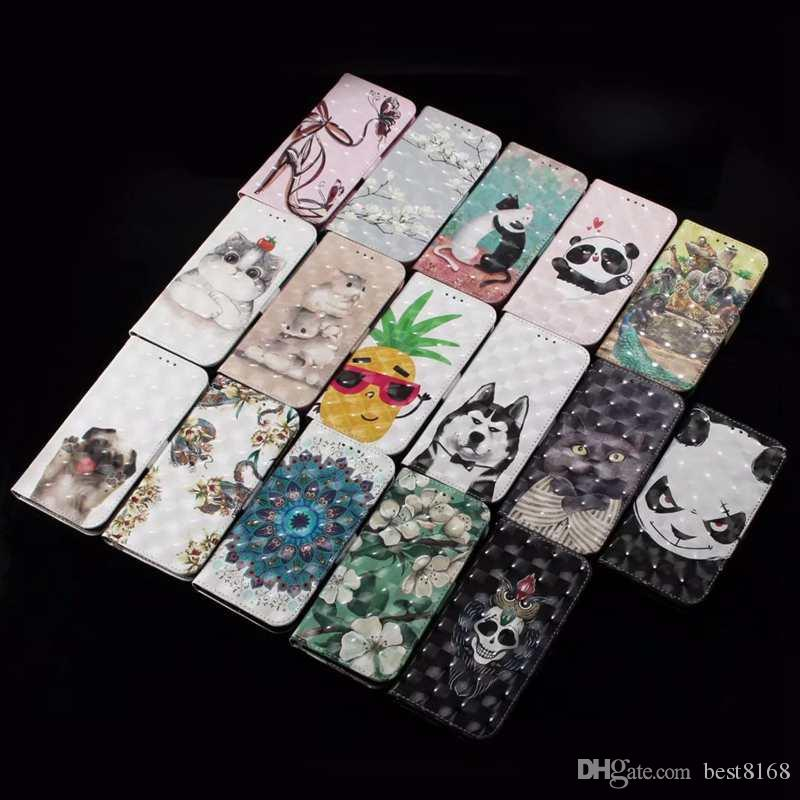 For Iphone X 8 7 Plus 6 6S SE 5 5S 3D Skull Leather Wallet Case Cat Panda Flower Flip Cover+TPU ID Card Slot Cute Cartoon Skin Pouches Strap