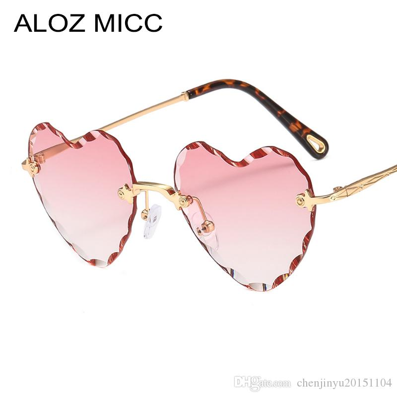 b798c74c2c ALOZ MICC Sexy Love Heart Sunglasses Women Brand Designer Rimless Metal Sun  Glasses Female Pink Grey Gradient Oculos UV400 A640 Custom Sunglasses Heart  ...