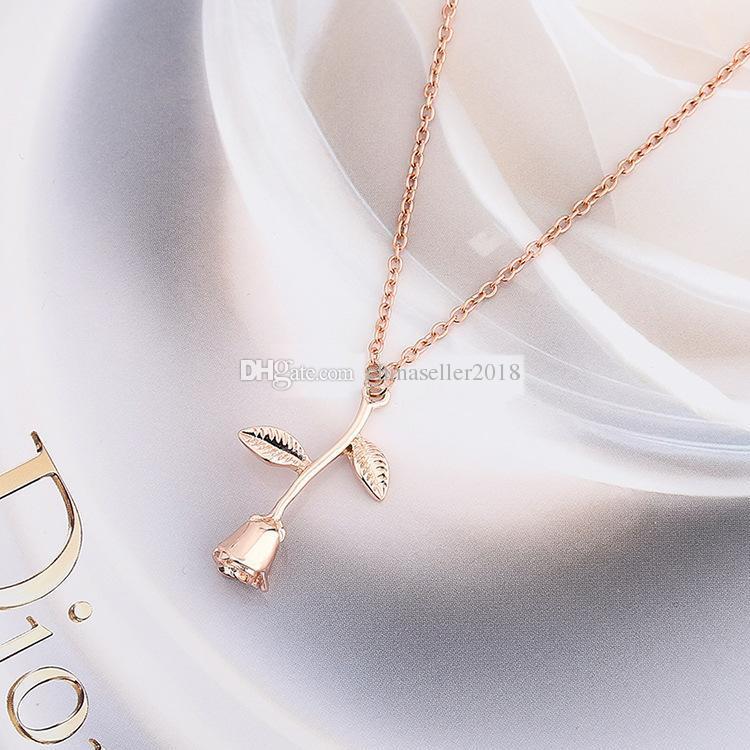 Moda 3D Gül Çiçek Charms Kolye Kolye Kadınlar için Alaşım Gümüş Altın Kaplama Yaka Sevgililer Hediye Takı