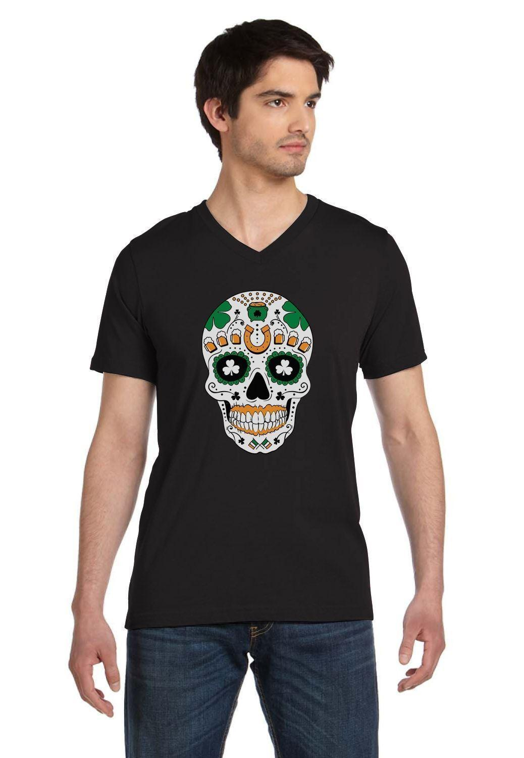 St Patricks Day Irish Sugar Skull Clover Ireland Flag V Neck T