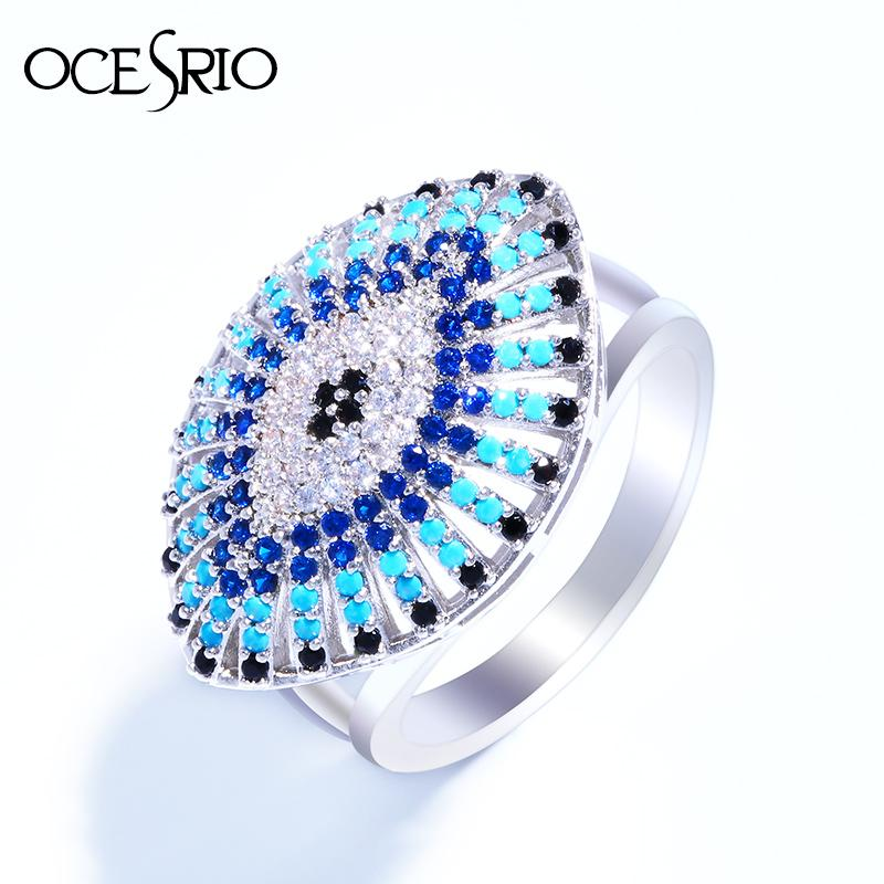 d9276b680a0c9e 2019 Whole SaleOCESRIO Vintage Evil Eye Ring Gold Anel Silver CZ Big  Pendant Rings For Women Charms Bague Femme Fashion Lucky Jewelery Rig E72  From Pickled, ...