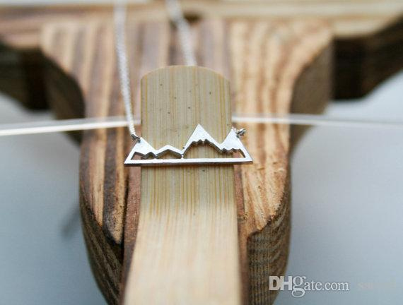 Simple Snowy Mountain Top Necklace Nature Landscape View Valley Canyon Clavicle Jewelry Handmade Gift For Women