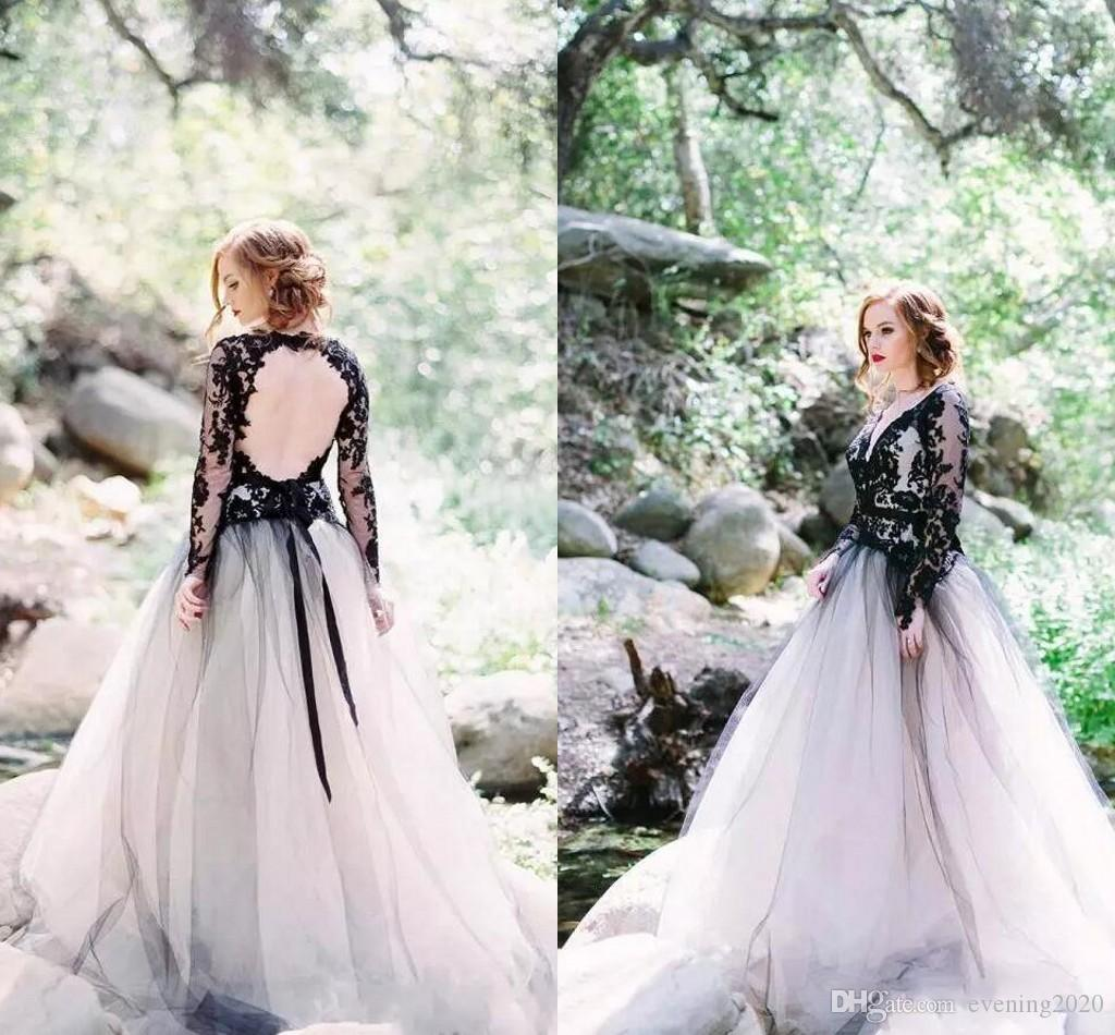 c7b28a0cecab Discount Latest Black Lace And White A Line Wedding Dresses Tulle Sexy V  Neck Backless Illusion Long Sleeves Gothic Bridal Gowns In Wedding Dress  Princess ...